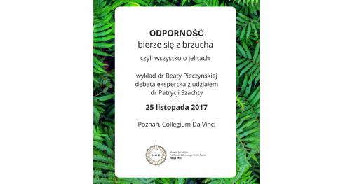 ODPORNOŚĆ bierze się z brzucha, czyli wszystko o jelitach - wykład dr Beaty Pieczyńskiej w Poznaniu