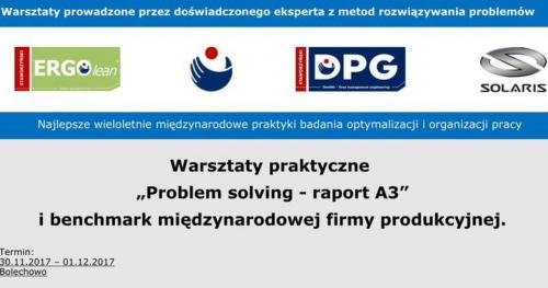 """Warsztaty praktyczne """"Problem solving - raport A3"""" i benchmark międzynarodowej firmy produkcyjnej."""