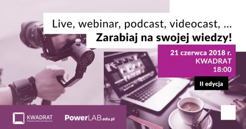 Live, webinar, podcast, videocast - Zarabiaj na swojej wiedzy!