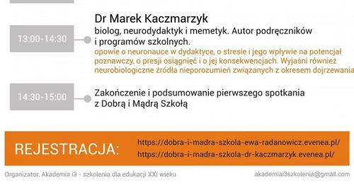 Spotkanie z dr Markiem Kaczmarzykiem w ramach akcji DOBRA I MĄDRA SZKOŁA