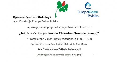 Jak pomóc pacjentowi w chorobie nowotworowej  - Opole       26-października 2018