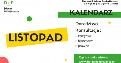 Darmowe Konsultacje Listopad - Dąbrowski Inkubator Przedsiębiorczości