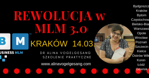 Rewolucja w MLM 3.0.- KRAKÓW Autorskie szkolenie praktyczne dr Aliny Vogelgesang