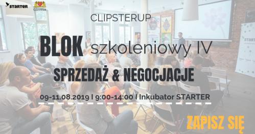 """ClipsterUP - Blok szkoleniowy IV """"Sprzedaż & Negocjacje"""""""