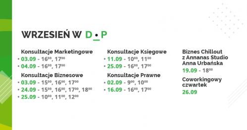 Darmowe Konsultacje Wrzesień 2019 - Dąbrowski Inkubator Przedsiębiorczości
