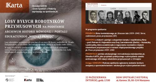 """Losy byłych robotników przymusowych na podstawie archiwum historii mówionej i portalu edukacyjnego """"Wojna i pamięć"""""""