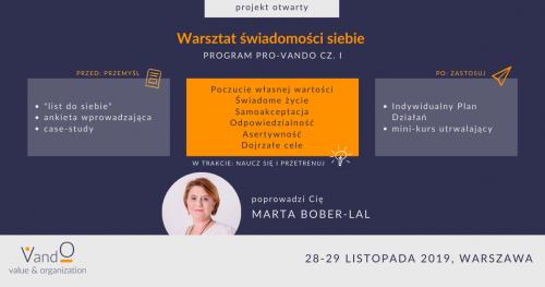 Program rozwoju osobistego PRO-VandO - warsztat świadomości siebie (moduł I)