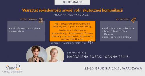 Program rozwoju osobistego PRO-VandO - warsztat świadomości swojej roli i skuteczna komunikacja (moduł II)