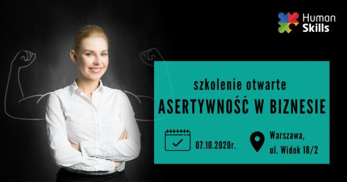Szkolenie otwarte w Warszawie Asertywność w biznesie 07.10.2020 r.