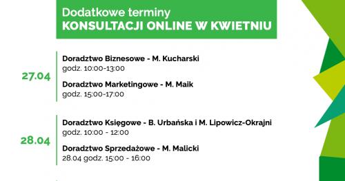 Darmowe Konsultacje Kwiecień vol. 2 - Dąbrowski Inkubator Przedsiębiorczości