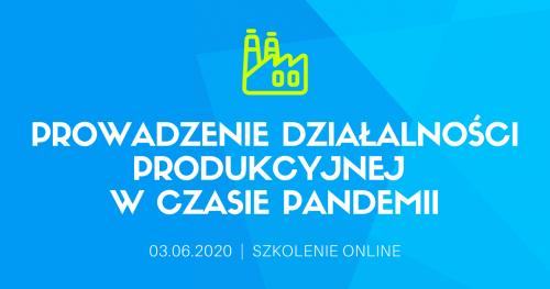 """Szkolenie online """"Prowadzenie działalności produkcyjnej w czasie pandemii  i w okresie post-pandemicznym"""""""