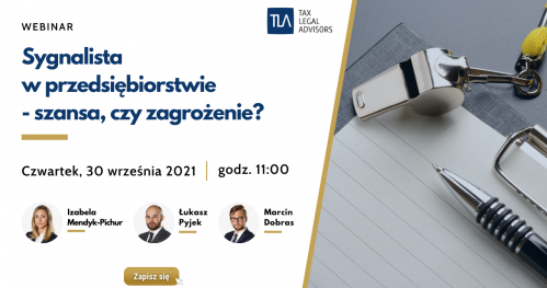 Webinar TLA - Sygnalista  w przedsiębiorstwie  - szansa, czy zagrożenie?