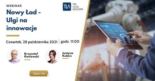 Webinar TLA - Nowy Ład - Ulgi na innowacje