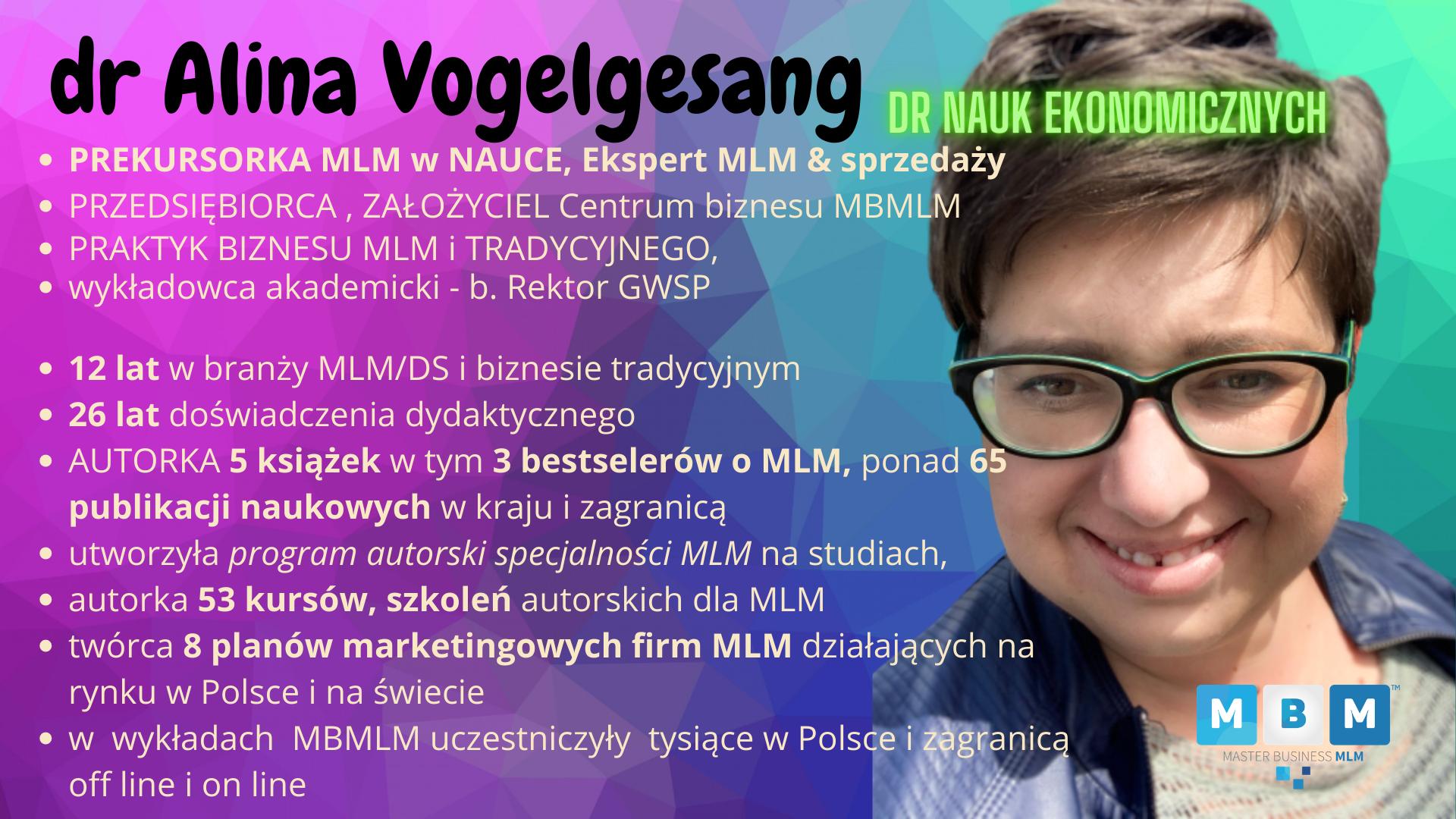 dr Alina Vogelgesang ekspert MLM sprzedaży