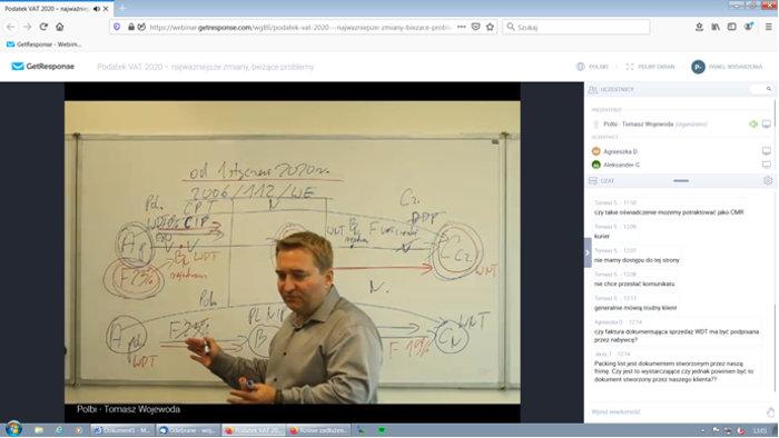 Webinarium prowadzi Tomasz Wojewoda. Podczas szkolenie online omawia bieżące zagadnienia zagadnienia dotyczące podatku VAT.